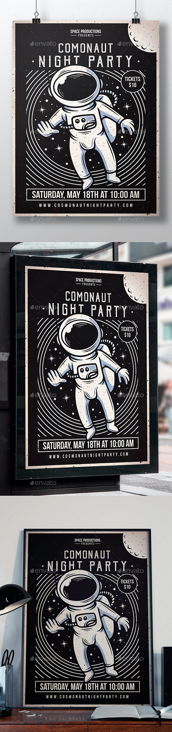 Space Cosmonaut Flyer Template - Clubs & Parties Events