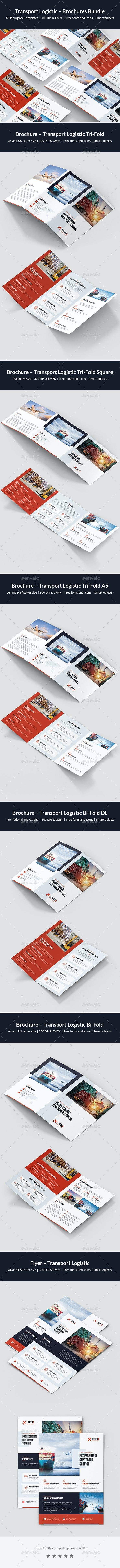 Transport Logistic – Brochures Bundle Print Templates 6 in 1 - Corporate Brochures