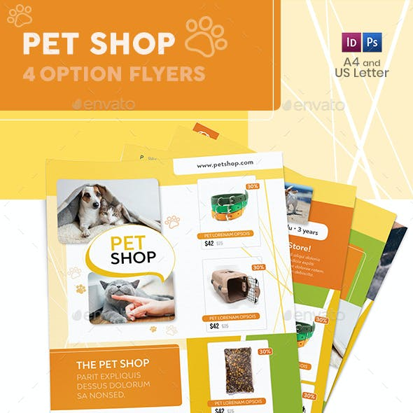 Pet Shop Flyers – 4 Options