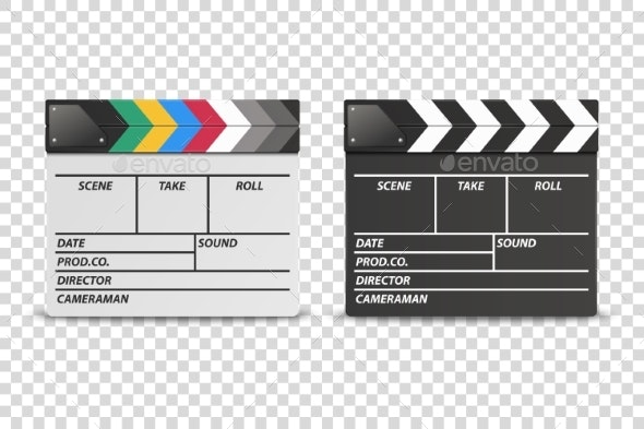Vector Realistic Closed White and Black Movie - Man-made Objects Objects
