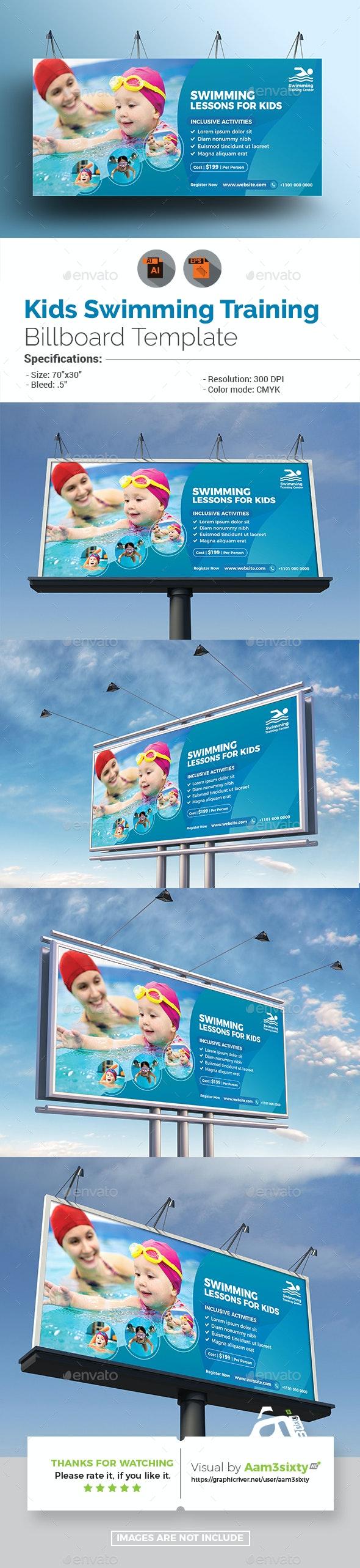 Kids Swimming Lessons Billboard - Signage Print Templates