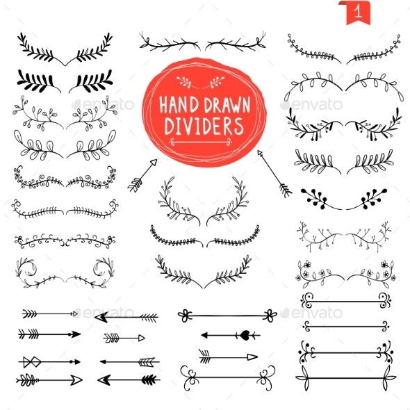 Hand Drawn Dividers Line Design Elements Vintage - Flourishes / Swirls Decorative
