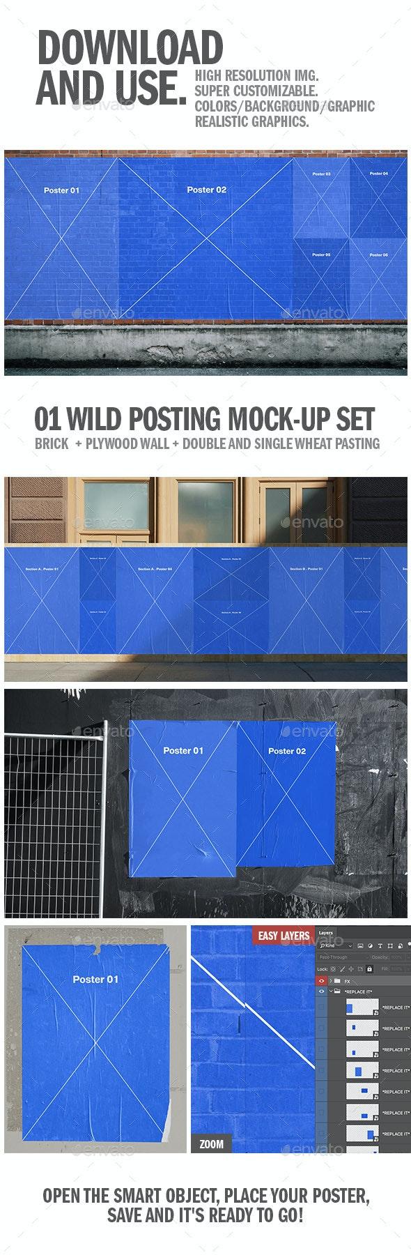Wild Posting Mock-ups / Urban Posters - Urban Photo Templates