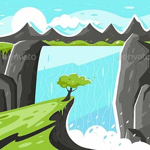 Flat Waterfall with Tree on Green Plain