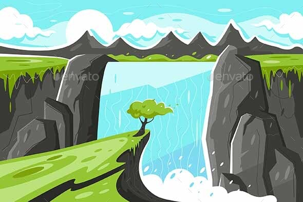 Flat Waterfall with Tree on Green Plain - Landscapes Nature