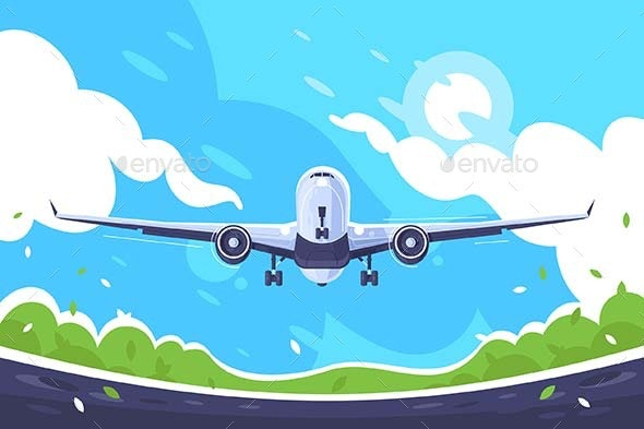 Flat Aircraft Takes Off on Blue Sky Background - Travel Conceptual