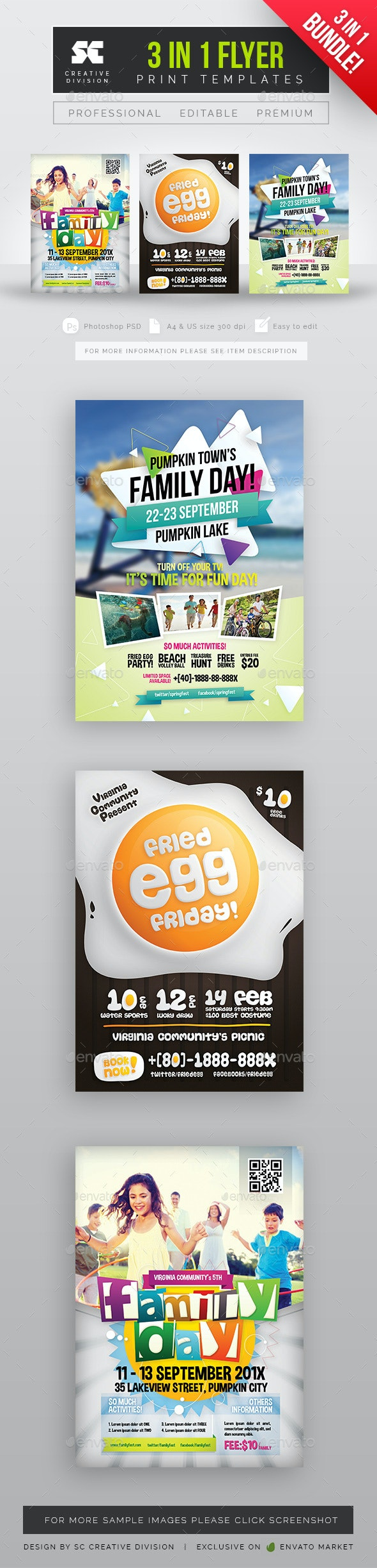 Family Day Flyer Bundle 3 in 1 - Holidays Events