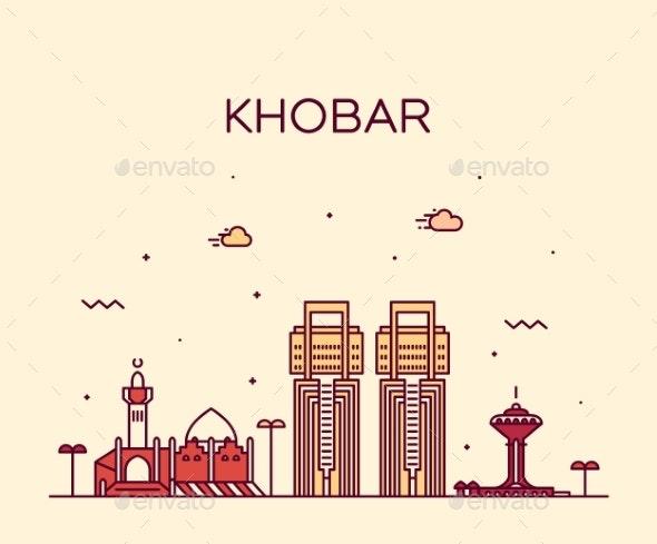 Khobar Skyline Saudi Arabia Vector Linear Style - Buildings Objects