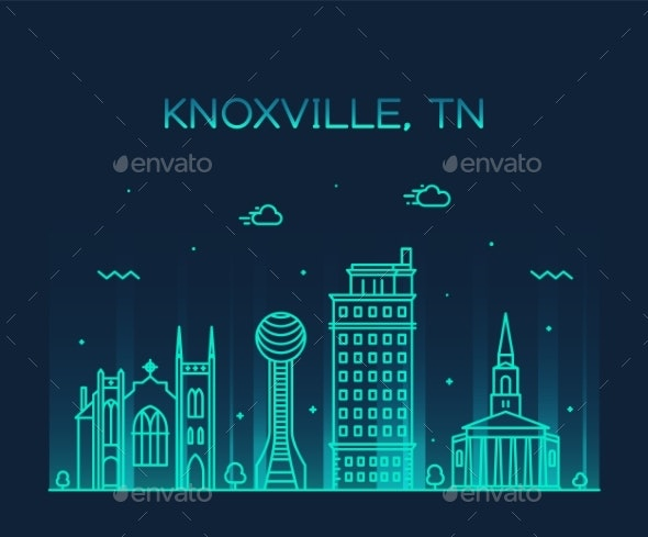 Knoxville Skyline Tennessee USA Vector Line Style - Buildings Objects