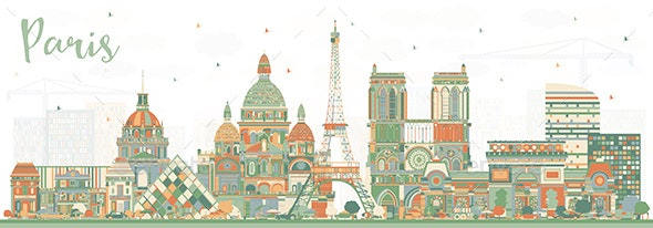 Paris France City Skyline with Color Buildings - Buildings Objects