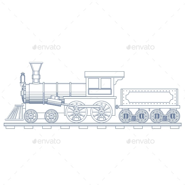 Vintage Steam Train Engrave Illustration - Man-made Objects Objects
