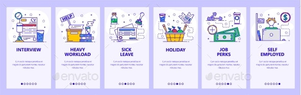 Mobile App Onboarding Screens Work in Office - Concepts Business