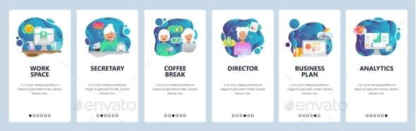 Mobile App Onboarding Screens Office - Concepts Business