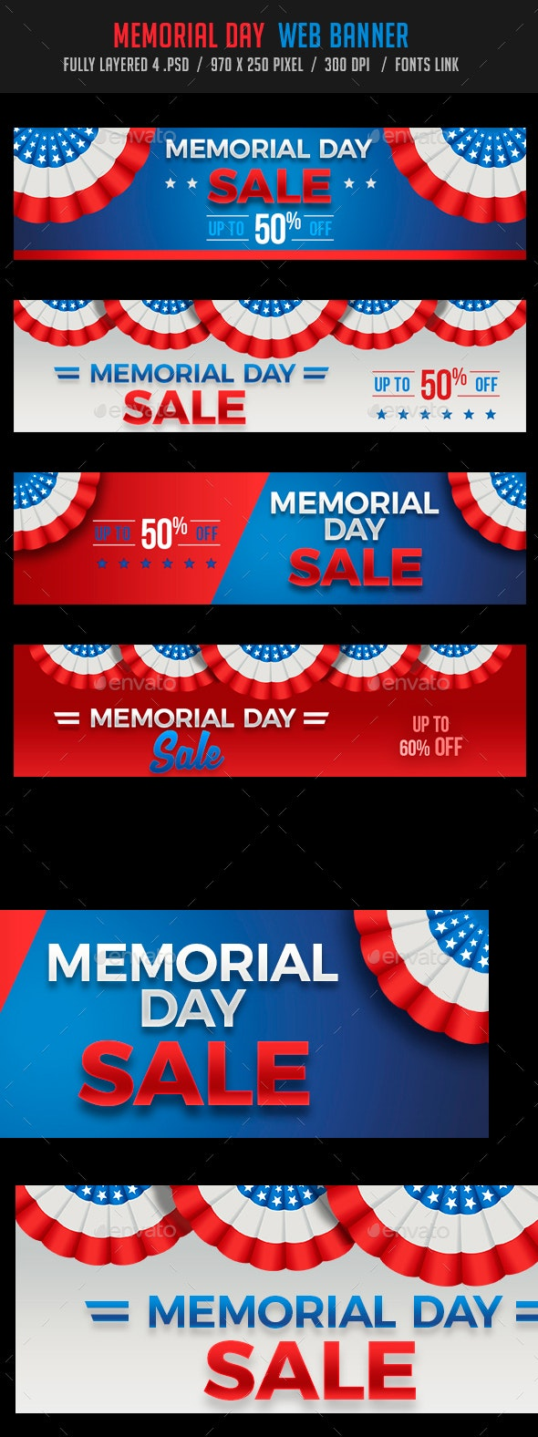 Memorial Day Web Banners Set - Banners & Ads Web Elements