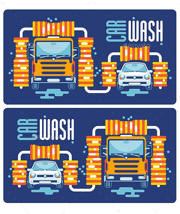 Truck and Car at an Automatic Car Wash - Services Commercial / Shopping