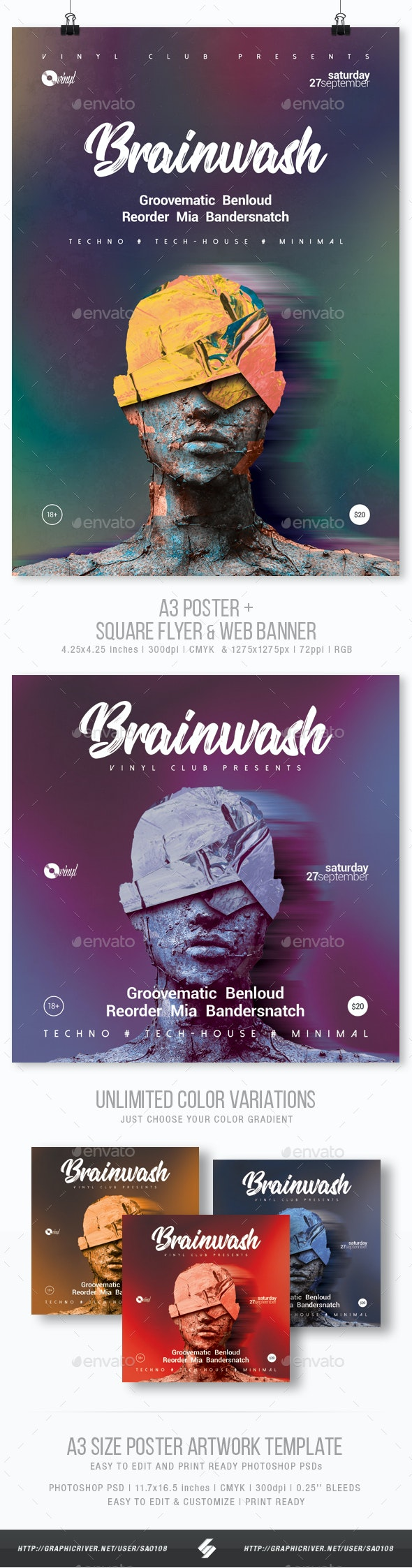 Brainwash vol.2 - Party Flyer / Poster Template A3 - Events Flyers