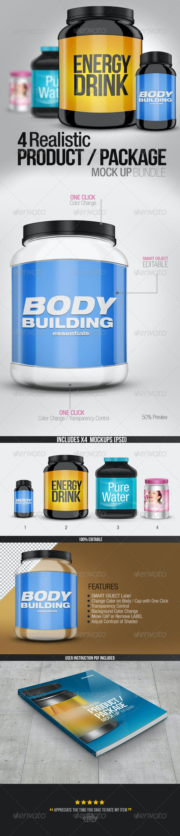 4 Realistic Product/Package Mock up Pack - Miscellaneous Packaging