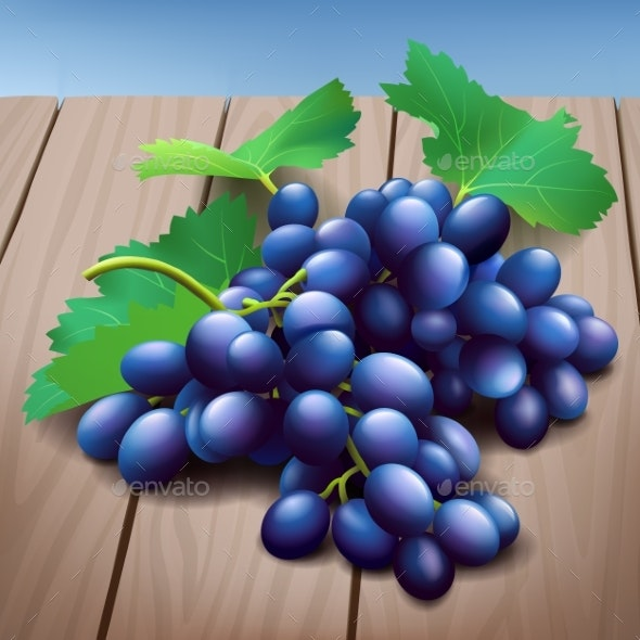 Realistic Purple Grapes Bunch with Green Leaves - Food Objects