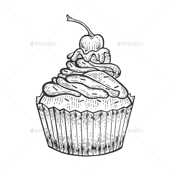 Cake Bakery Product Sketch Engraving Vector - Food Objects