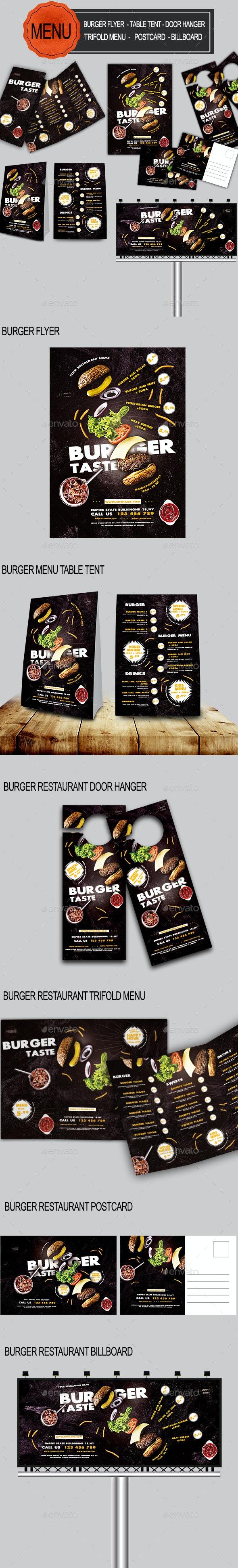 Burger Food Menu Bundle - Food Menus Print Templates