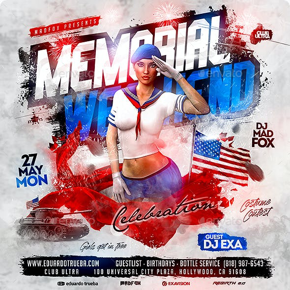 Memorial Day Weekend Celebration Party Flyer