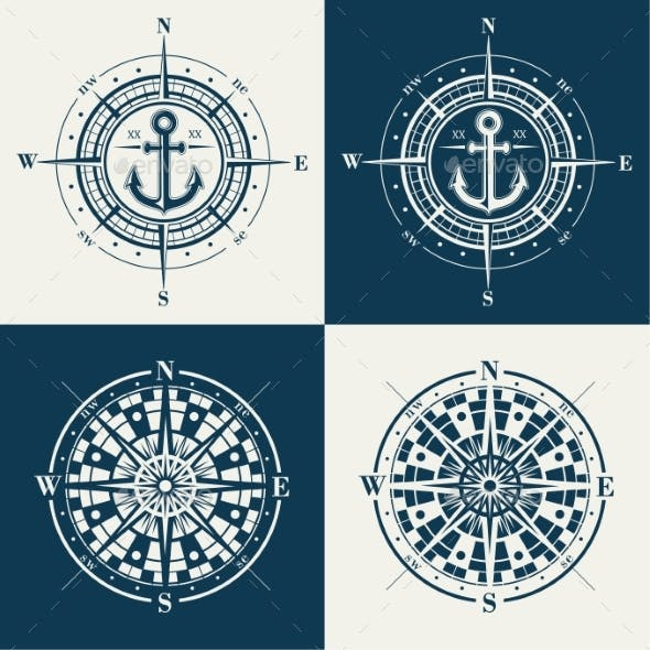 Set of Compass Roses or Wind Roses