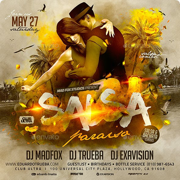 Salsa Paraiso Latin Party Flyer