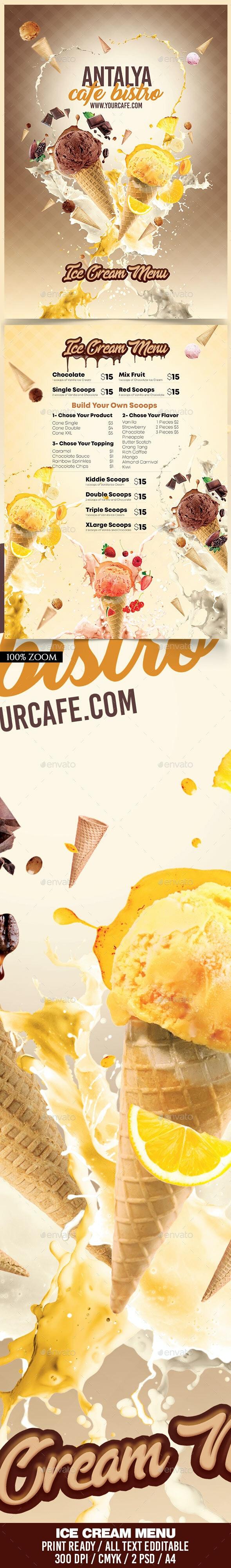 A4 Ice Cream Menu - Food Menus Print Templates