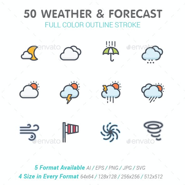 Weather and Forecast Full Color Icon