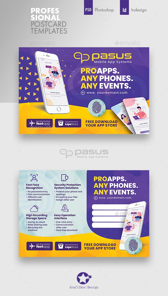 Mobile App Postcard Templates - Cards & Invites Print Templates