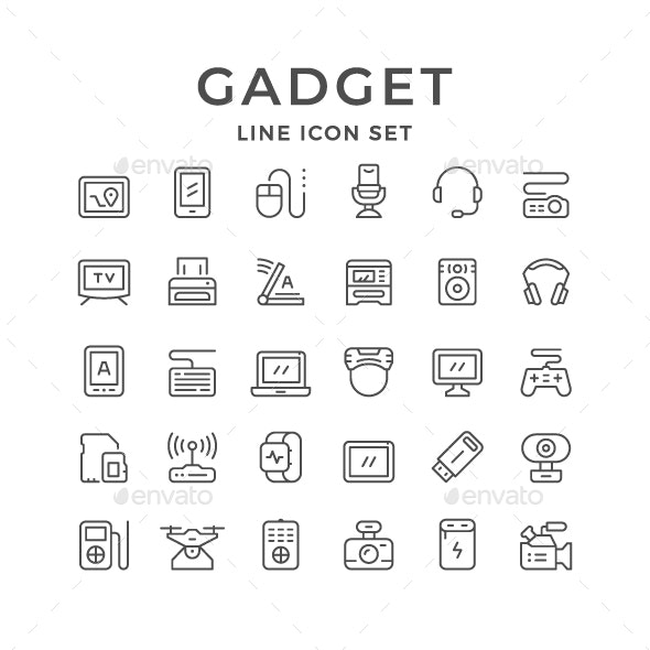 Set Line Icons of Gadget - Man-made objects Objects