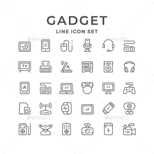 Set Line Icons of Gadget
