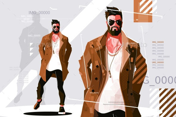 Stylish Guy in Coat - Man-made Objects Objects