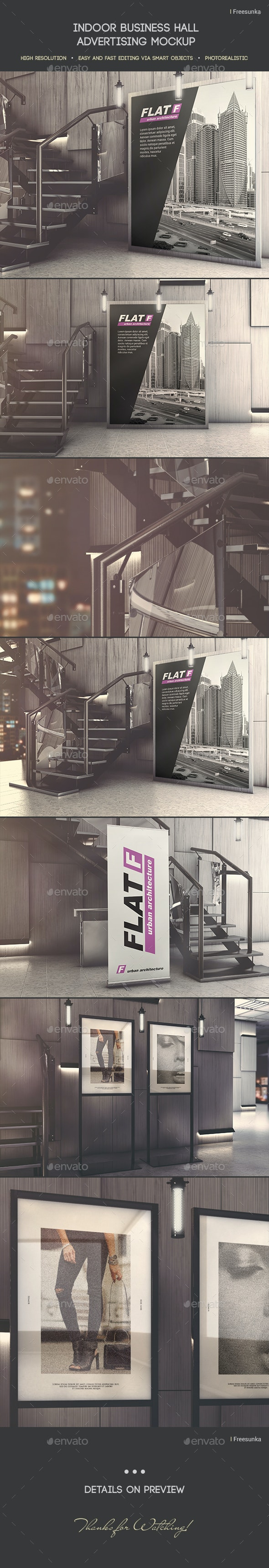 Indoor Business Hall Advertising Mockup - Miscellaneous Print