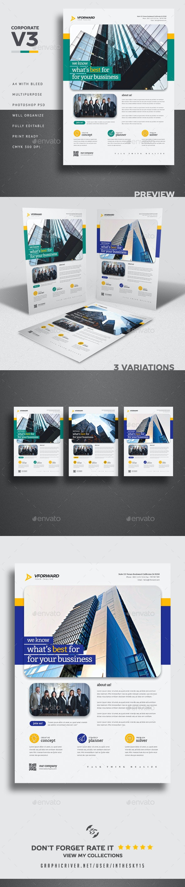 Corporate V3 Flyer Template - Corporate Flyers