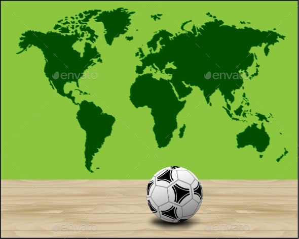 Soccer Ball Illustration with Green World Map - Backgrounds Decorative