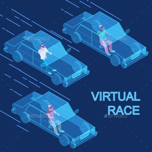Vector Virtual Reality Race Isometric Concept - Miscellaneous Vectors