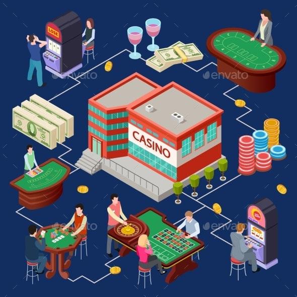 Casino Vector Illustration - Gambling Isometric - People Characters