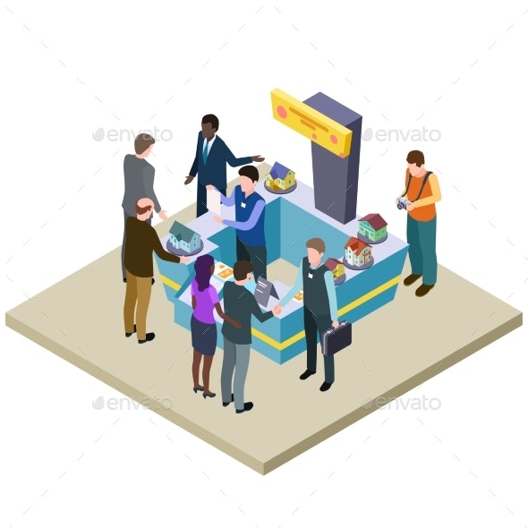 Real Estate Exhibition Isometric Vector - People Characters