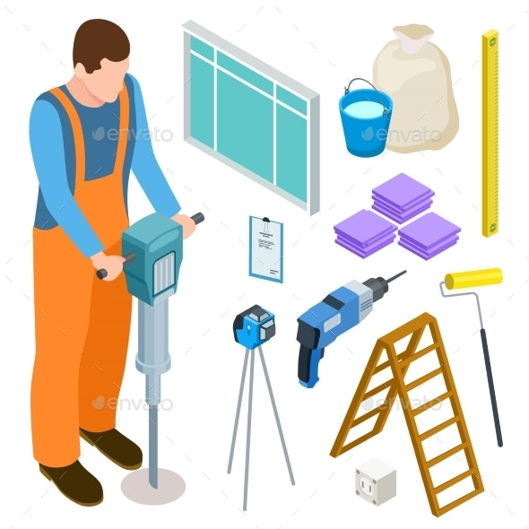 Builder and Construction Tools Isometric Vector - People Characters
