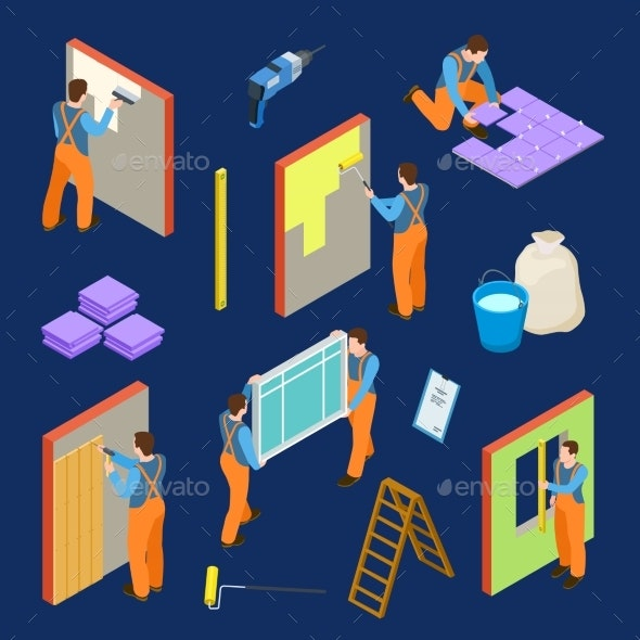 Repair Workers and Tools Isometric Vector Set - People Characters