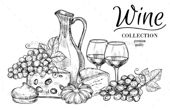 Jug of Wine, Cheese, Sweets and Glasses Sketch - Food Objects