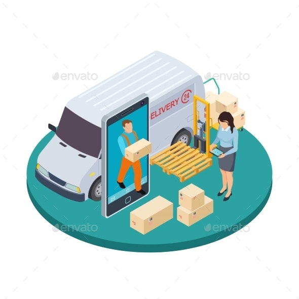 Online Express Delivery Isometric Vector - Services Commercial / Shopping