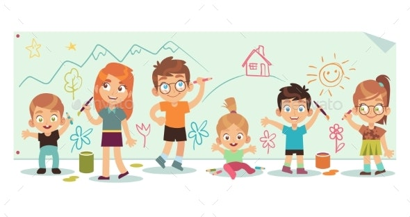 Kids Drawing Pictures - People Characters