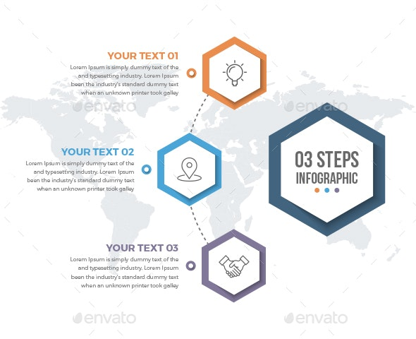 Infographics Template with 03 Steps - Infographics