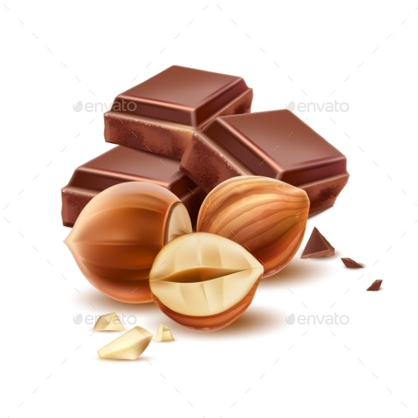 Vector Realistic Chocolate Piece with Hazelnut - Food Objects