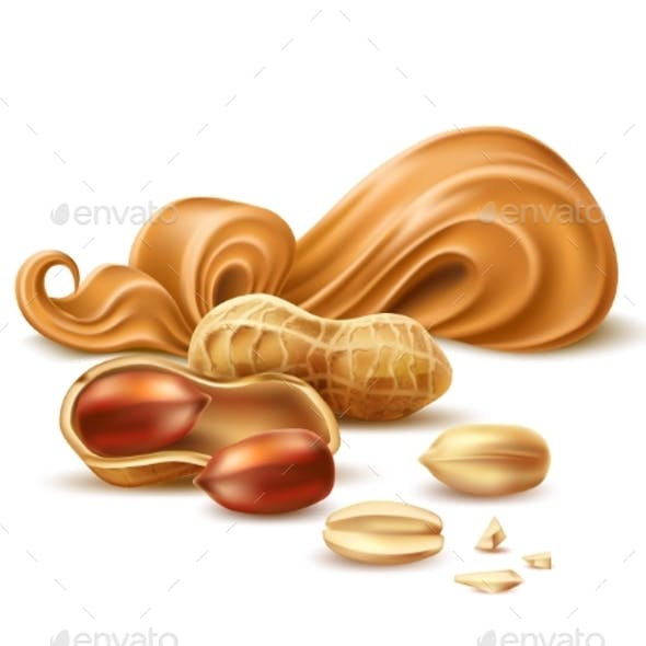 Vector Realistic Peanut Butter with Shell and Nuts