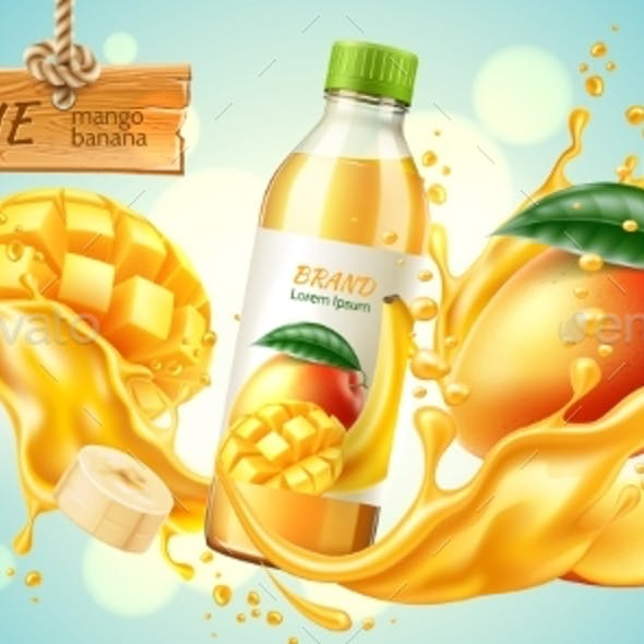Vector Realistic Mango Banana Slice Juice Splash