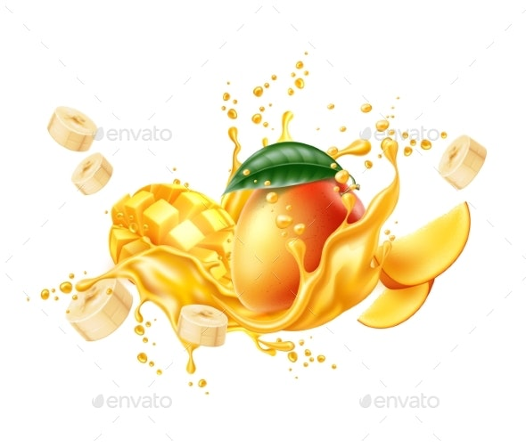 Vector Realistic Mango Banana Slice Juice Splash - Food Objects