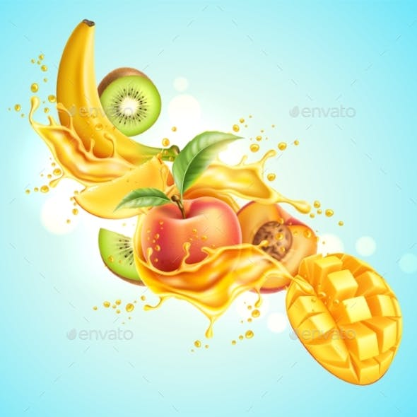 Vector Realistic Tropical Fruit in Juicy Explosion
